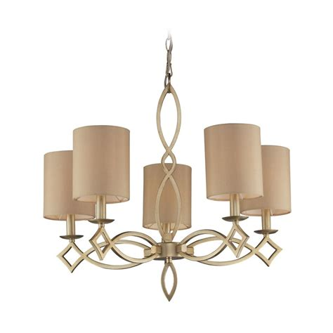 Modern Chandelier Shades Modern Chandelier With Beige Shades In Aged Silver Finish 31127 5 Destination Lighting