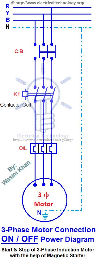 On Off Three Phase Motor Connection Power Amp Control