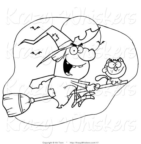 Halloween Coloring Pages Clip Art | vector critter clipart of an outlined flying cat and witch