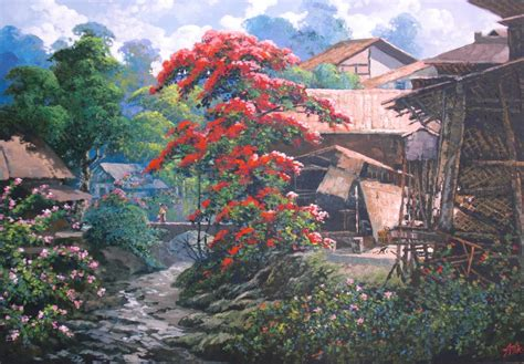 lukisan pemandangan desa  kaki gunung