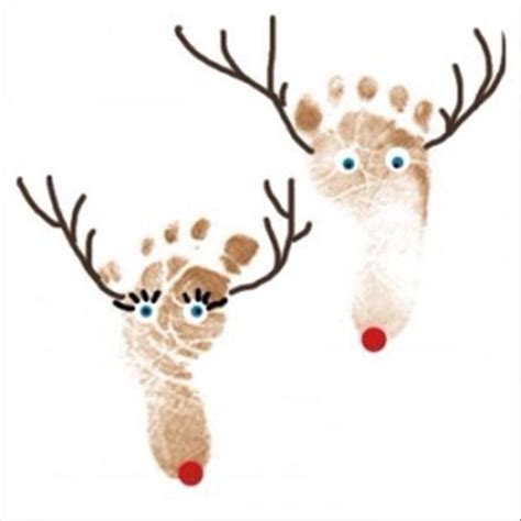 footprint reindeer kids craft jp galmor pinterest