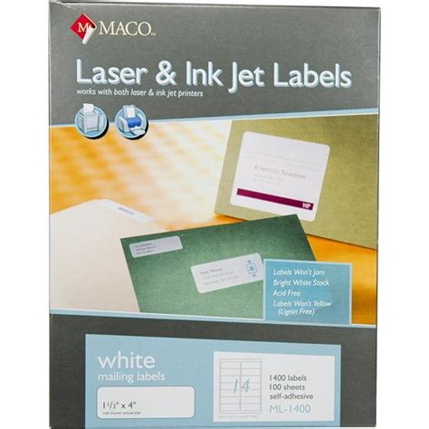 maco laser and inkjet labels template maco ml1400 1 1 3 x 4 quot white mailing labels