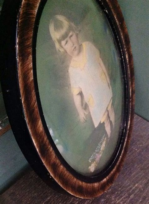 antique vintage wood oval  girl marked bubble convex
