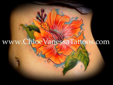 orange tattoo orange hibiscus flower by tattoonow