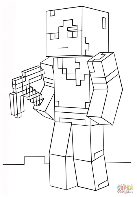 minecraft alex coloring page free printable coloring pages
