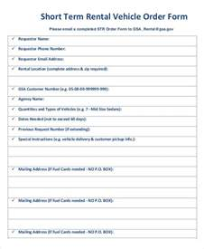 Term Rental 7 Vehicle Order Templates Free Sle Exle Format