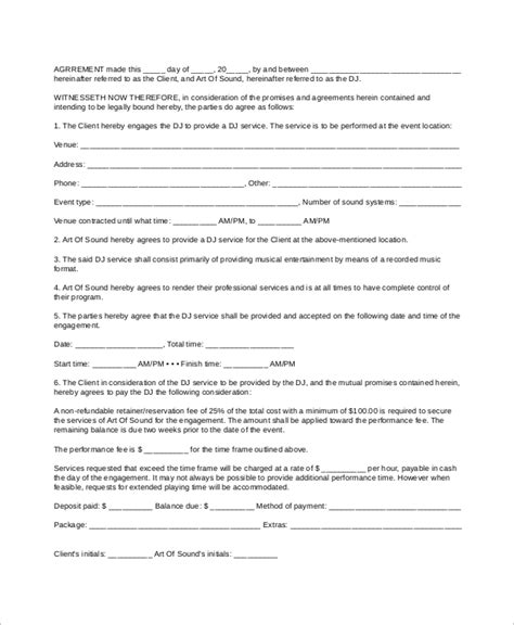mobile dj contract template 10 dj contract sles sle templates
