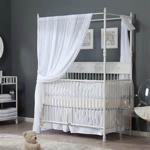 Baby Canopy For Crib Bratt Decor Wrought Iron Indigo Convertible Canopy Crib Distressed White At Hayneedle