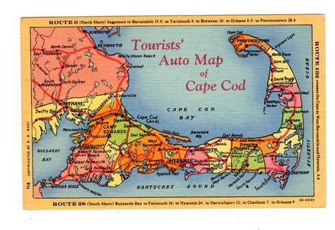 map of cape cod ma linen postcard tourist auto map of cape cod massachusetts jackie s vintage postcards