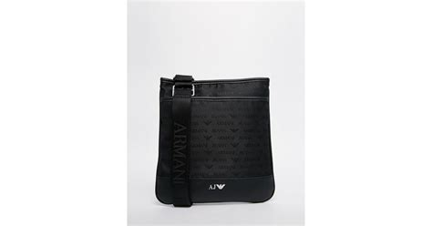 Bag Giorgio Armani Black Camel armani flight bag with all logo print in black for lyst