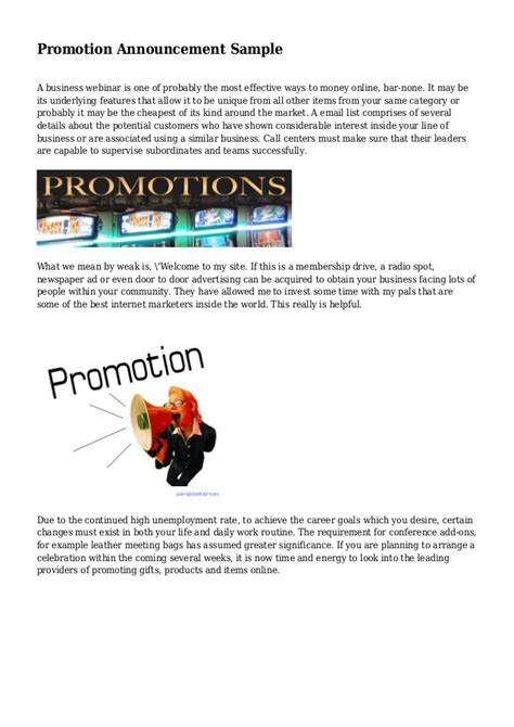promotion announcement sle