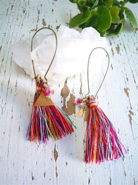 Anting Pompom Mini 3 morrocan dangle earrings colorful tassels