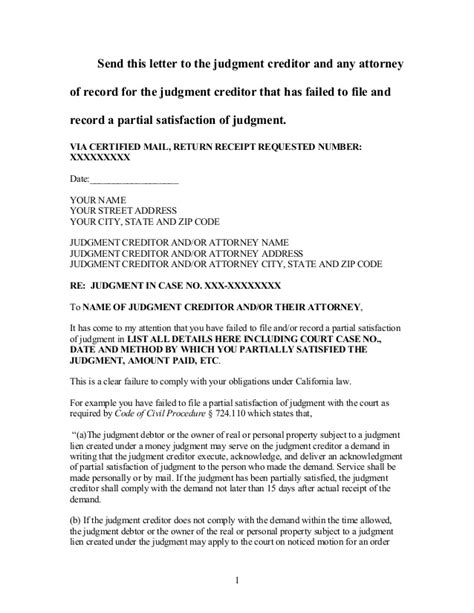 Release Of Judgement Letter Sle Demand For Partial Satisfaction Of Judgment In California
