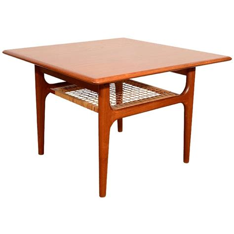 Woven Coffee Table Trioh Wood End Table With Woven Rattan Shelf At 1stdibs