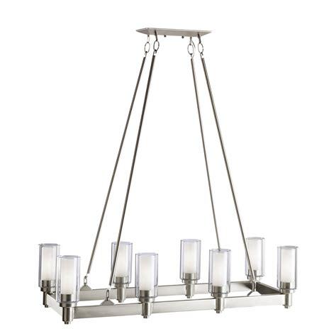 brushed nickel chandelier 8 light linear chandelier in brushed nickel circolo