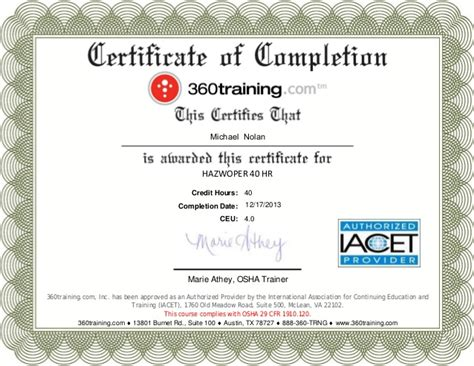 Competent Person Card Template by Osha Certificate Of Completion Images