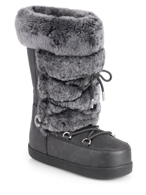 moon boots slippers lyst ugg julette shearling leather moon boots in black