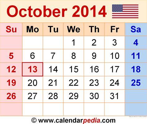 2014 October Calendar October 2014 Calendars For Word Excel Pdf