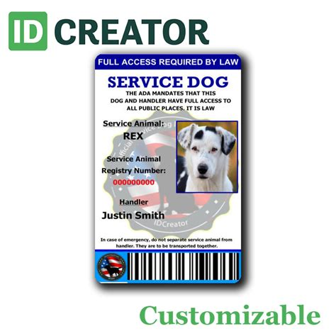 Uk Id Card Template Official Id Card For Service Dogs Same Day Shipping