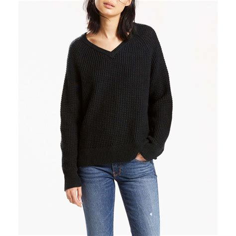 Sweater Pull levi s wafle stitch vneck sweater pull noir ebay