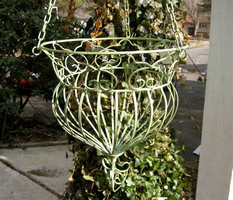 Wrought Iron Hanging Planters hanging planter basket wrought iron antique green new ebay