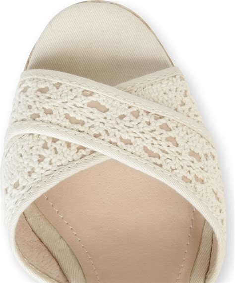 steve madden marrvil crochet wedge sandals in white lyst