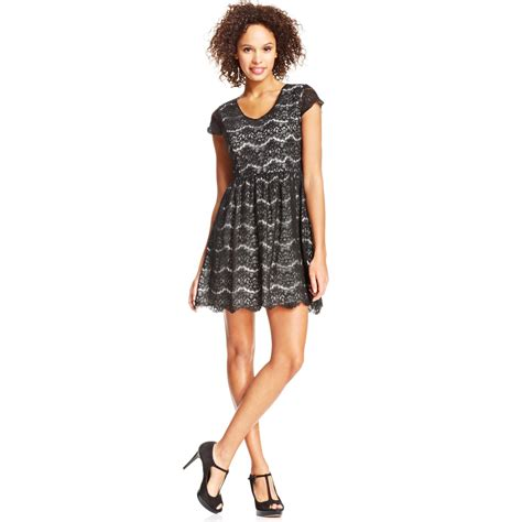 Black Arine Dress kensie lace aline dress in black black combo lyst