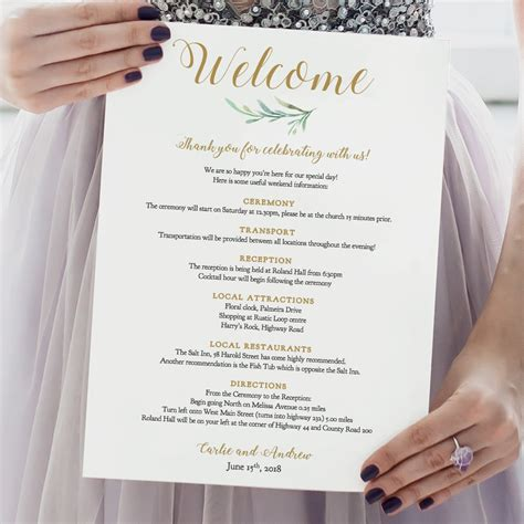 wedding itinerary letter note template