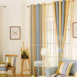 Blue Stripe Curtains Blue Stripe Modern Curtain Thick Chenille Fabric 2016 New Arrival