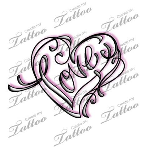 love calligraphy tattoo marketplace tattoo quot love quot calligraphy and swirl heart