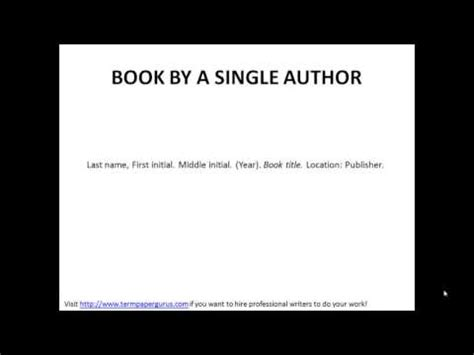 apa reference book by one author how to cite a book written by a single author in apa