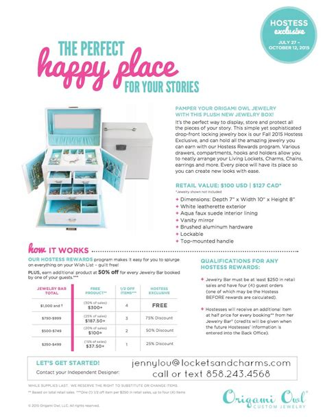 Origami Owl Hostess Rewards - origami owl is free jewelry host origami owl