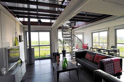 shipping container home interior a two story house made of eight shipping containers with a