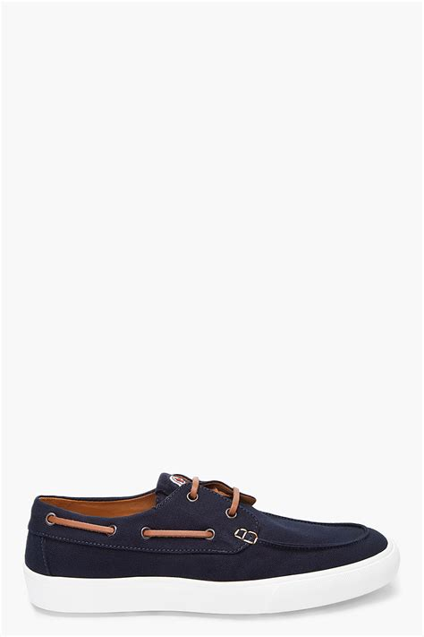 moncler boat shoe in blue for lyst