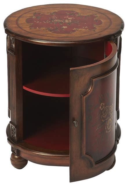 drum accent table butler thurmond red hand painted drum table victorian