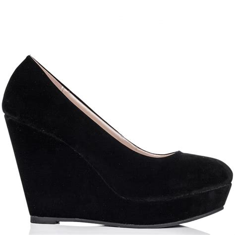 womens black wedge heel suede style platform court shoes