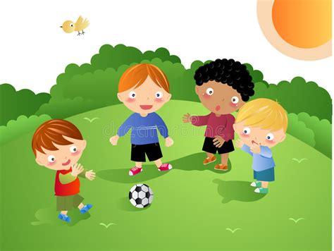 clipart bambini giocano bambini giocano gioco calcio illustrazione