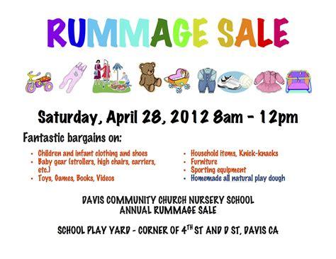 Rummage Sale Flyer davis ca davis community church nursery school dccns