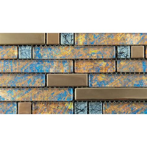 metal and glass gold stainless steel backsplash wall tiles blue crystal glass mosaic