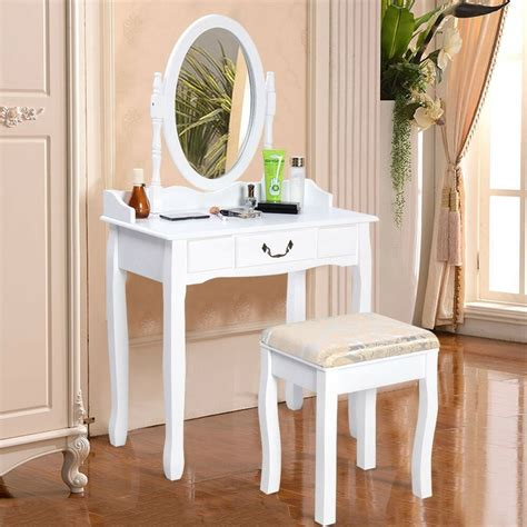 White Vanity Table Set Jewelry Armoire Makeup Desk Bench Drawer by Us Vanity Table Jewelry Makeup Desk Bench Dresser W Stool