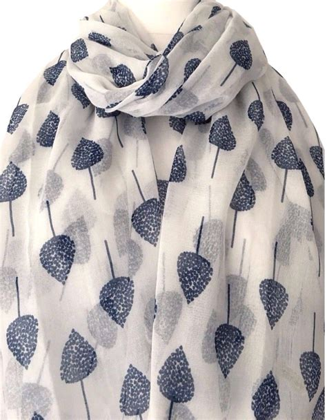 navy blue tree a white scarf with a navy blue tree print ivory
