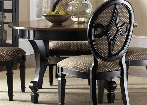 Black Wood Round Dining Room Tables Upholstered Chairs Black Wood Dining Room Table