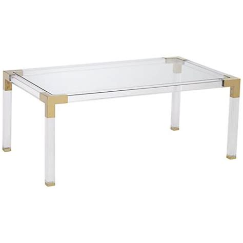 Acrylic Coffee Table Erica Rectangle Clear Acrylic Coffee Table With Gold Corners 1g407 Www Lsplus