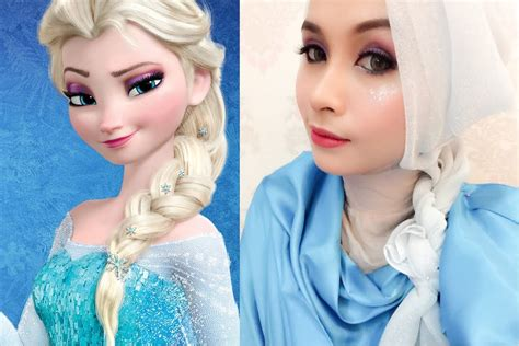 tutorial hijab elsa frozen disney s queen elsa frozen inspired makeup tutorial