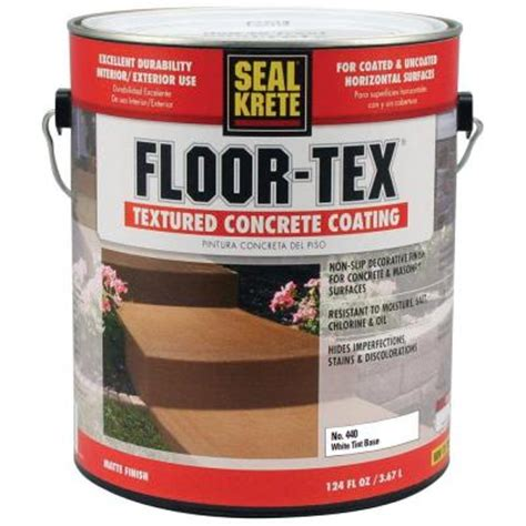 seal krete floor tex 1 gal 440 white base tintable textured concrete coating 440001 the home