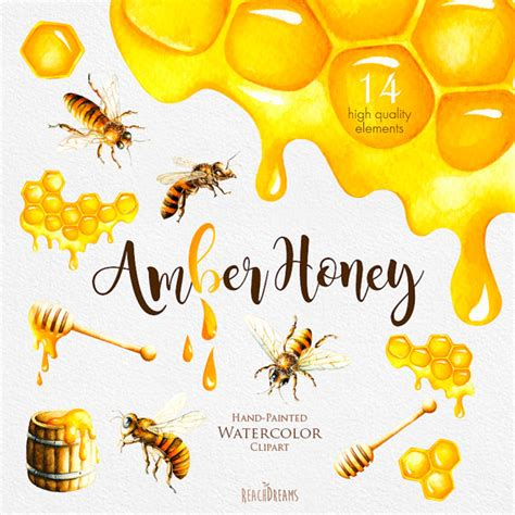 Karpet Set Motif Bee Lebah watercolor honey bee clipart honeycomb painted digital clip instant diy