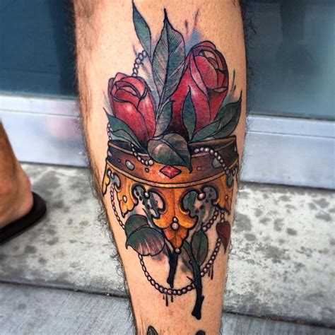 true at heart tattoo crown with roses by matt tischler at true at