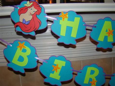 ariel mermaid birthday banner
