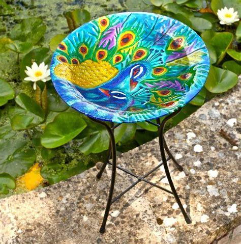 bird bath glass peacock by garden selections