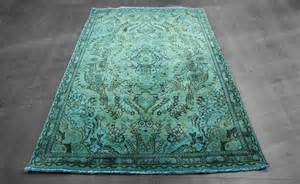 teal blue rug 5x8 overdyed tabriz design teal blue green rug woh